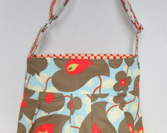 Diaper bag medium, purse, Amy Butler Lotus Morning Glory with red polka dot lining