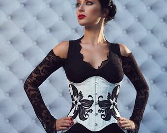 "White Silk Black Lace Underbust Corset ""Perce Neige"" Onyx Hearts Luxury Wedding"
