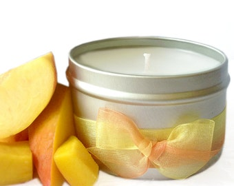 Mango Peach Salsa Scented Candle Tin 8oz