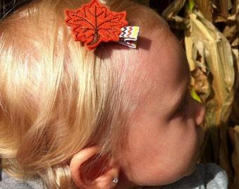 Fall Hair Clip - Chevron Clippie - Fall Felt Leaf - Orange Leaves - Leaf Hait Clip - Autumn Hair Clip