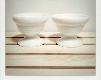 Set of 2 Vintage L.E. Smith Milk Glass Sorbet Bowls
