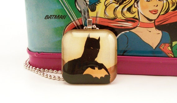 Yellow Batman Glass Tile Pendant Superhero Necklace with Two Chains