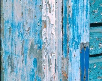 "Door Photo, Abstract Door Art, Turquoise Print, Weathered Peeling Paint, Shabby Rustic Blue Art, Beach Cottage Farmhouse Art- ""Chippy Blue"""