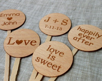 Wedding Cupcake Toppers - Wedding, Bridal Shower, Reception Cupcake Picks - Personalized Cupcake Toppers - Choose Your Design