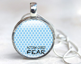 Quote Pendant, blue polka dots quote, glass pendant quote necklace, fear black, typography pendant, fear quote necklace
