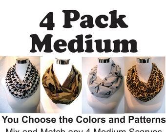 4 pack lot MEDIUM Length Jersey Knit Infinity Scarves - you choose from dozens of colors and patterns - ChevronScarf