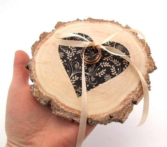 Personalized rustic ring bearer pillow with Heart WEDDING WOOD SLICE earthy wedding