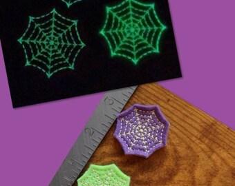Glow in the dark spider web Halloween set of 4 UNCUT wholesale felties, felt embellishment, hair bow centers, hair accessories, scrapbooking