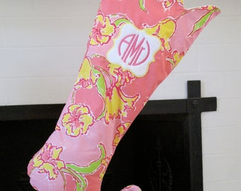 lilly pulitzer monogrammed stocking with scalloped top