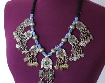 Gorgeous beaded kuchi coin necklace