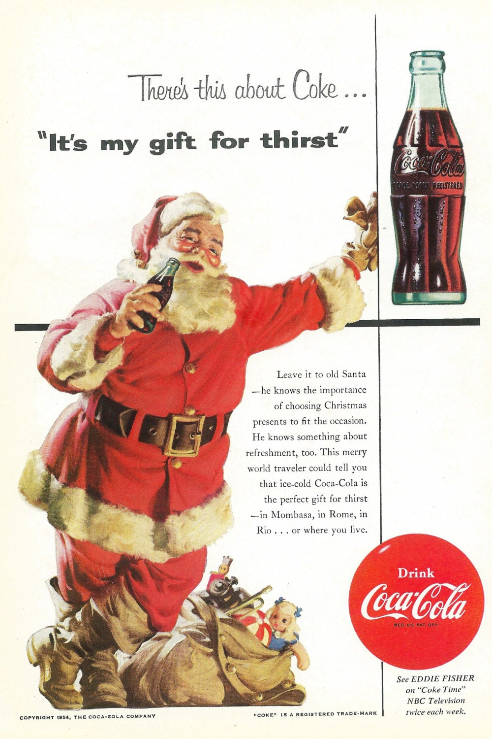 vintage christmas coke ad 1954 santa claus with bag of toys