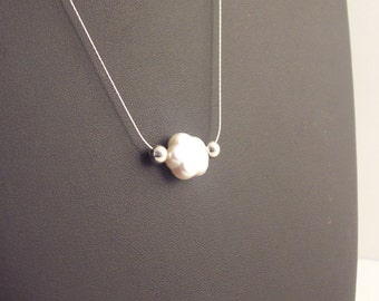 Pearl Silver Necklace  handmade with a Flower  Fresh Water Pearl and sterling Silver chain. Bridal Necklace. Gift Bridesmaids