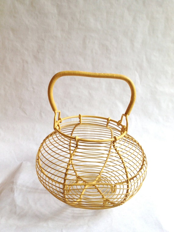 Vintage French Yellow Wire Egg Basket