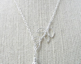50% OFF Necklace, Silver Branch and Pearl Lariat Necklace: No. N65