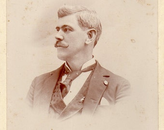 Antique Photo of Handsome Gent with Handlebar Mustache