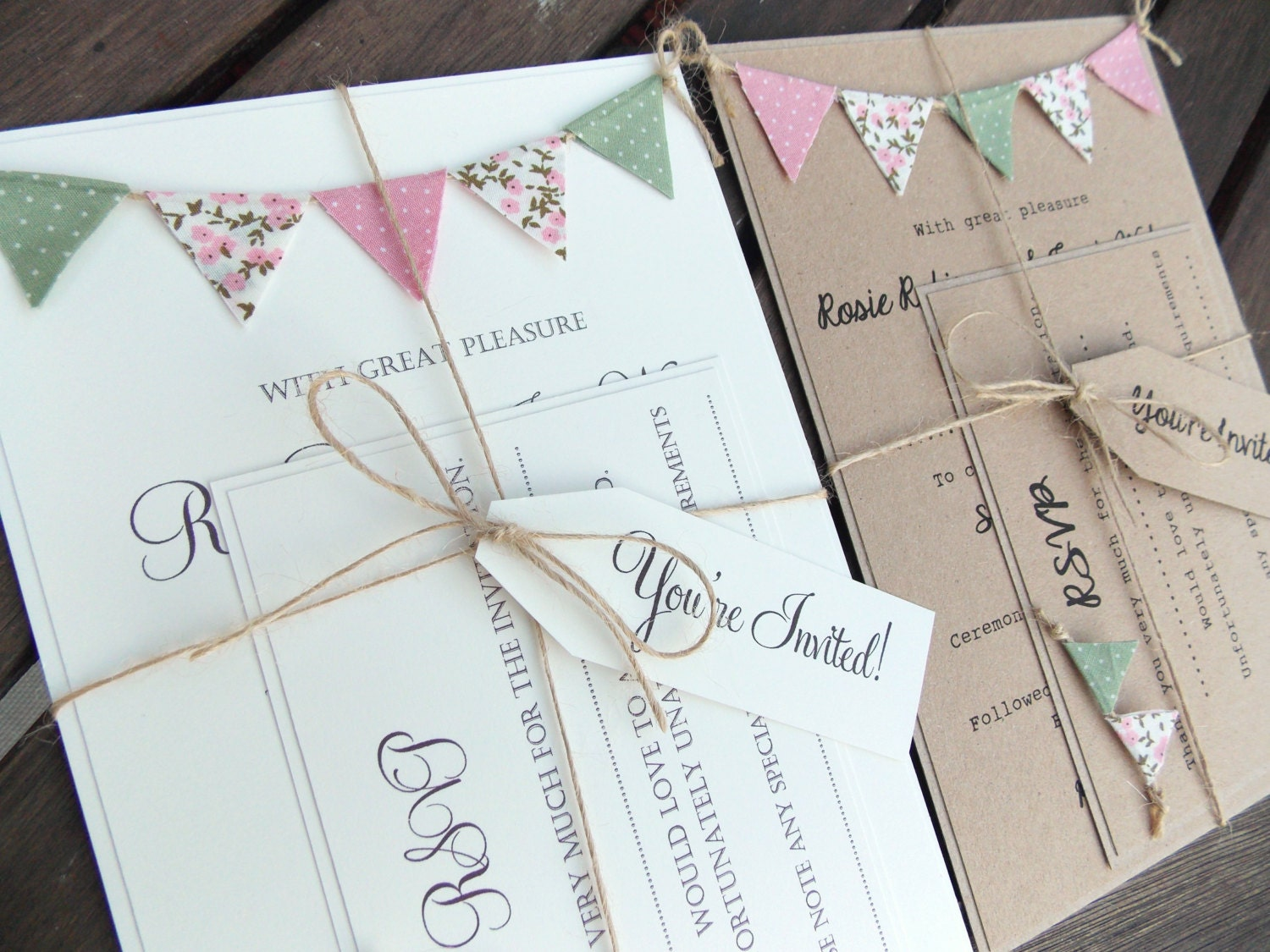 Interesting Wedding Invitation Ideas: Rustic Wedding Invitation. Unique Bunting Invitation Country