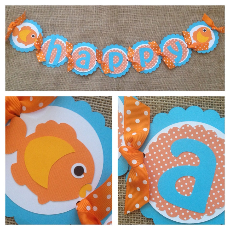 Goldfish Birthday Banner Goldfish Banner Goldfish Party