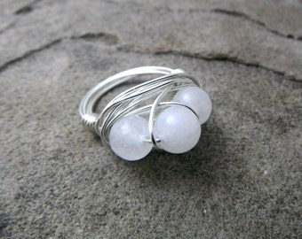 White Jade Ring, Wire Wrapped Ring, Cluster Ring, White Stone Ring, White Ring, Wire Wrapped Jewelry Handmade