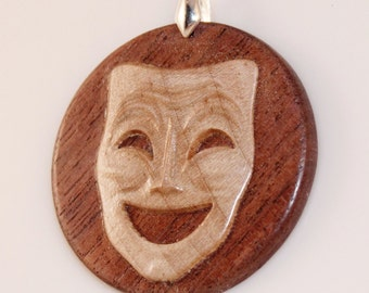 Handcrafted Thespian Comedy Mask Pendant  in Maple and Walnut