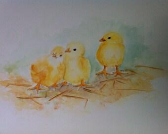 chicks - watercolor