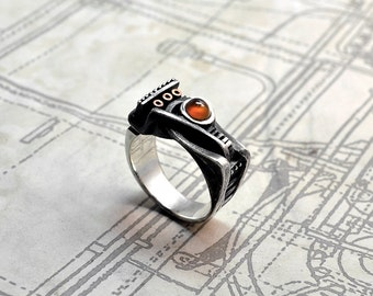 "Sterling Silver Unisex Steampunk Ring ""Spiralemus"" 