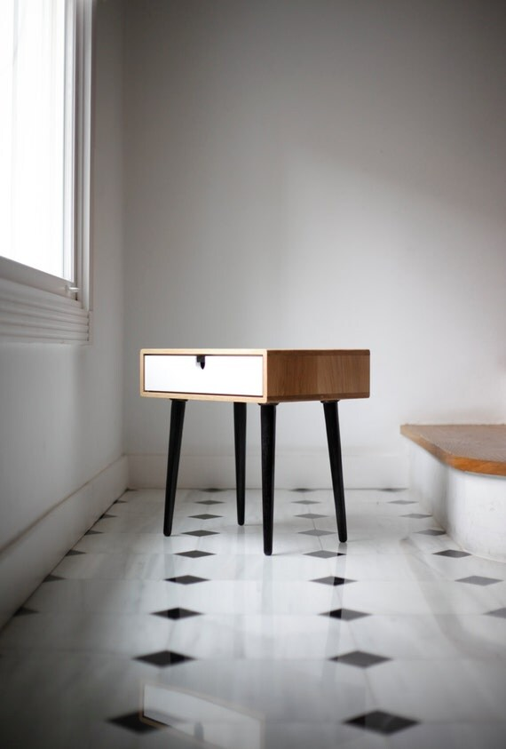 Retro Style Container Bedside Table: Wood Nightstand / Bedside Table Scandinavian Mid-Century