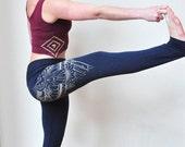 Navy Yoga Pants, Henna Eagle Wing, Henna Design, Bamboo Terry Leggings, High Waisted Pants, Handmade