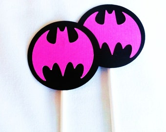 Batgirl Birthday party Cupcake toppers 12 count Black and Yellow or Pink and black Batgirl birthday party decorations