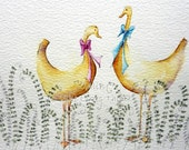 Yellow birds bright and colourful original watercolour painting