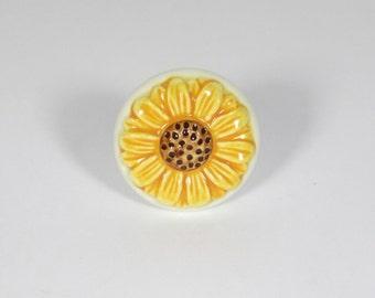 Yellow Sunflower On Creamy White Ceramic Drawer Knob
