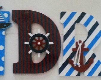 Nautical Nursery - Nursery Wall Letters - Baby Name - Nursery Wall Decor - Beach Nursery Decor - Wall Decor - Nautical -  Anchor Nursery