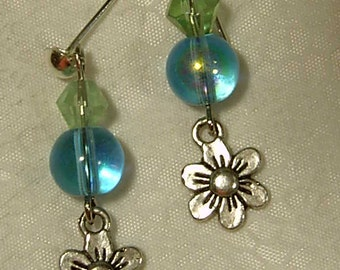 Cynthia Lynn Blue & Green Glass Bead Silver Daisy Post Earrings Inspired by DOODLE DAISY  1.25 inches