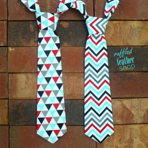 Little boy necktie in triangles or chevron - boys tie - toddler neck tie - baby boy necktie - newborn necktie, red, blue, gray, black