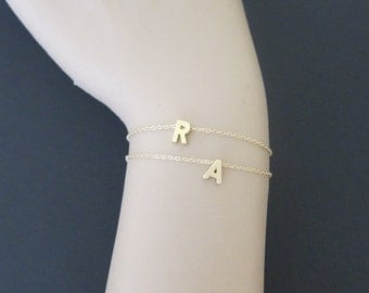 Silver version available, Initials bracelets, tiny initial bracelets, two initials, letter bracelet , Gift for mom, sister gift, delicate.