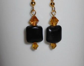 Autumn Earrings, Fall Earrings, Gold Earrings, Halloween Earrings, Black and Brown Earrings, OOAK Jewelry