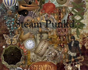 Steam Punked - Digital Clipart Graphics for Scrapbooking and Paper Crafts