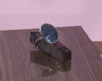 womans oval lapis ring set in sterling silver size 6 1/2 and 8