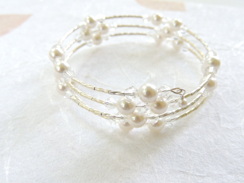 white pearl memory wire bracelet pearl bracelet memory wire