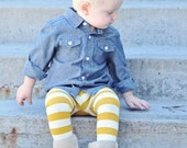 Baby Leggings, Mustard and Cream Stripes, Light-weight Cotton Leggings by The Little Spoons