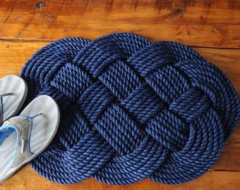 Navy Rope Rug - Navy Decor - Nautical Decor - Cotton Bath Rug - (29 x 18)
