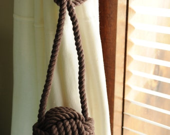 Cocoa Brown - Curtain Tiebacks - Nautical Decor - Nautical Window Treatment - (this is for a pair)