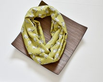 Bunny Scarf, Rabbit Circle Scarf, Yellow Lime Green Rabbit Bunny Patterned Fashion Scarf, Circle Infinity Scarf, Trending Scarf