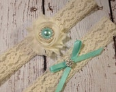 Free Toss Garter, Designer Blue Wedding Garter Set / Bride Garter & Toss Garter