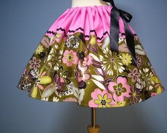 Retro Floral Print Skirt, Beautiful, All Sizes, Adjustable Waist, Plus Sizes, SUPER CUTE