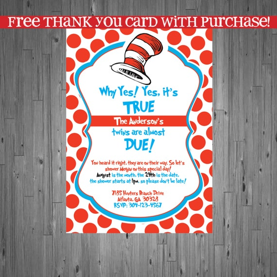 Dr seuss TWINS Baby Shower Invitation, Baby Sprinkle invitation, cat ...