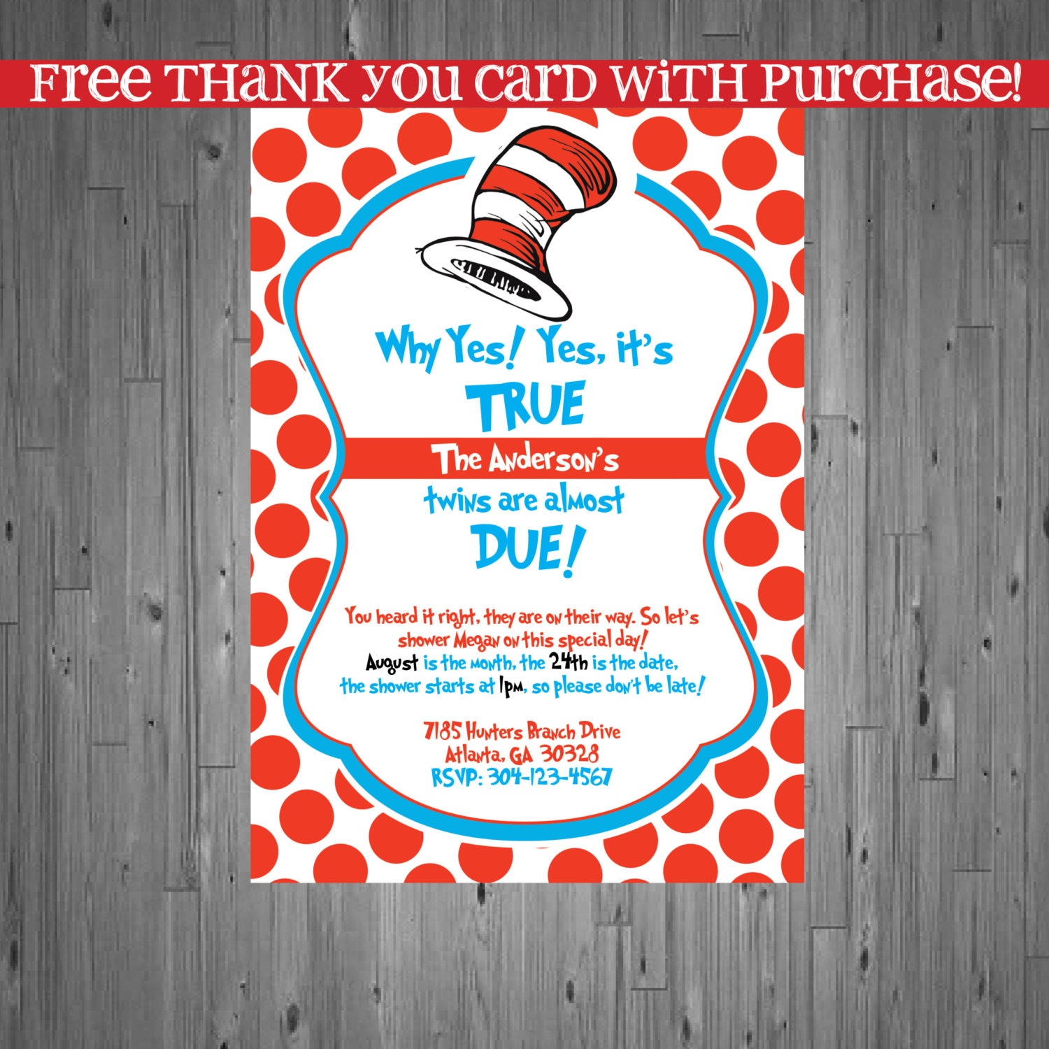 Dr seuss TWINS Baby Shower Invitation Baby by AbbyReeseDesign