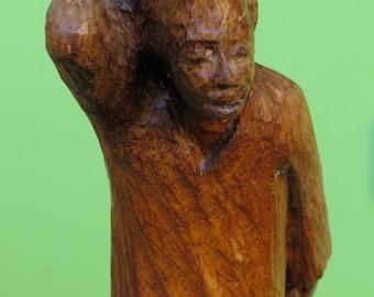 "Ludovic Booz 1960's Mid Century Haiti Haitian Hand Carved Wood Sculpture 12""  Signed"