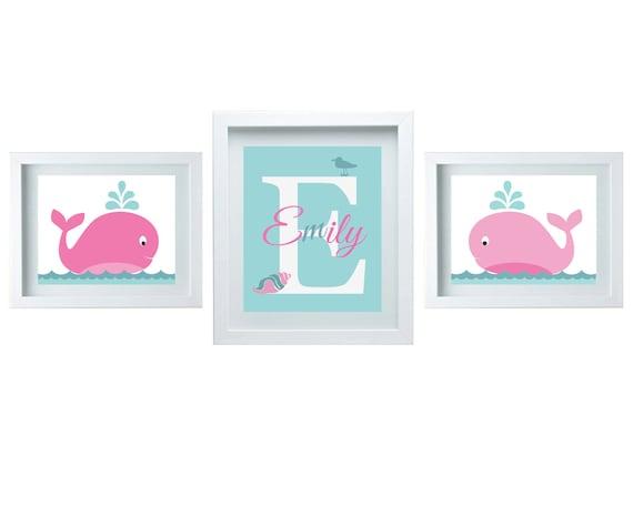 Bathroom decor pink aqua cute whale decor bathroom wall art three 8x10