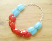 Red and Turquoise Necklace, Aqua and Red statement necklace