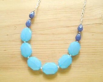 Turquoise Aqua  Blue long Statement necklace, Turquoise Blue necklace